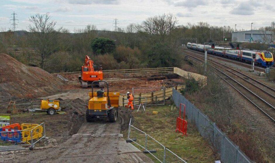 The bridge construction site