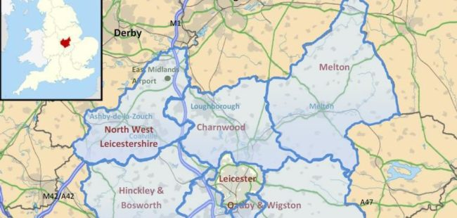 Leicestershire region map