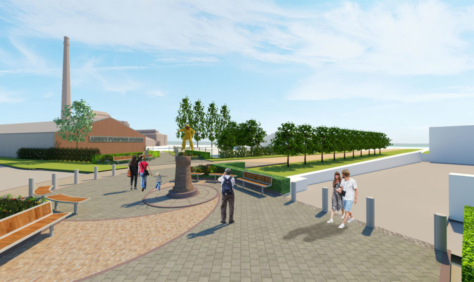 An artist's impression of the planned plaza linking Space Park Leicester, the National Space Centre and Abbey Pumping Station