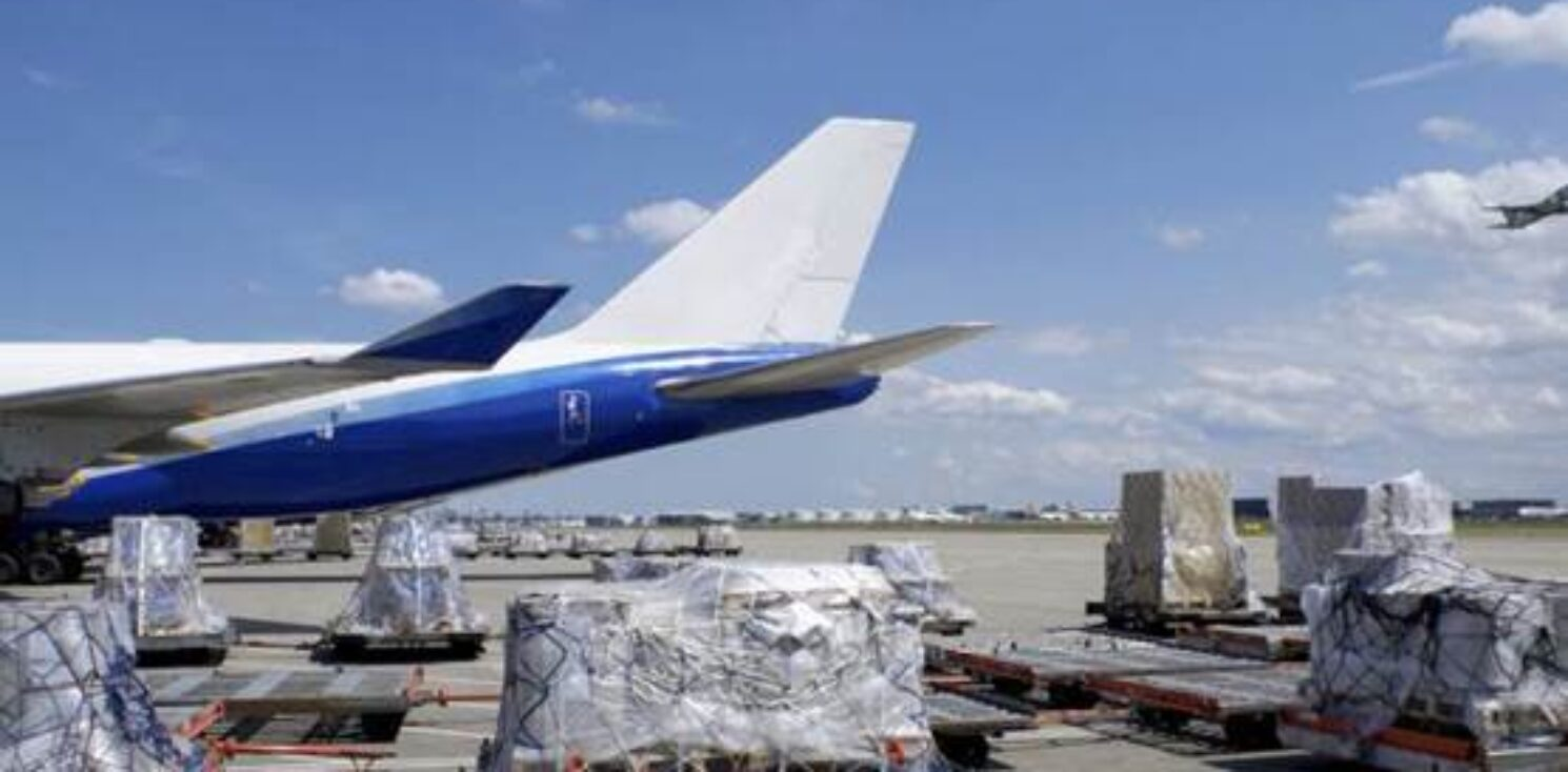 Cargo plane unloading