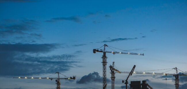 A view of cranes on a construction site