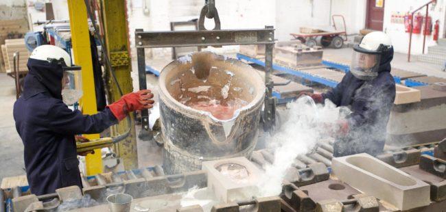 Harrison Castings pouring moulton metal