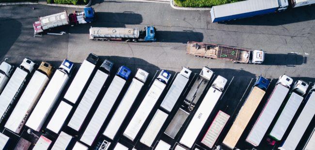 Lorries in a car park