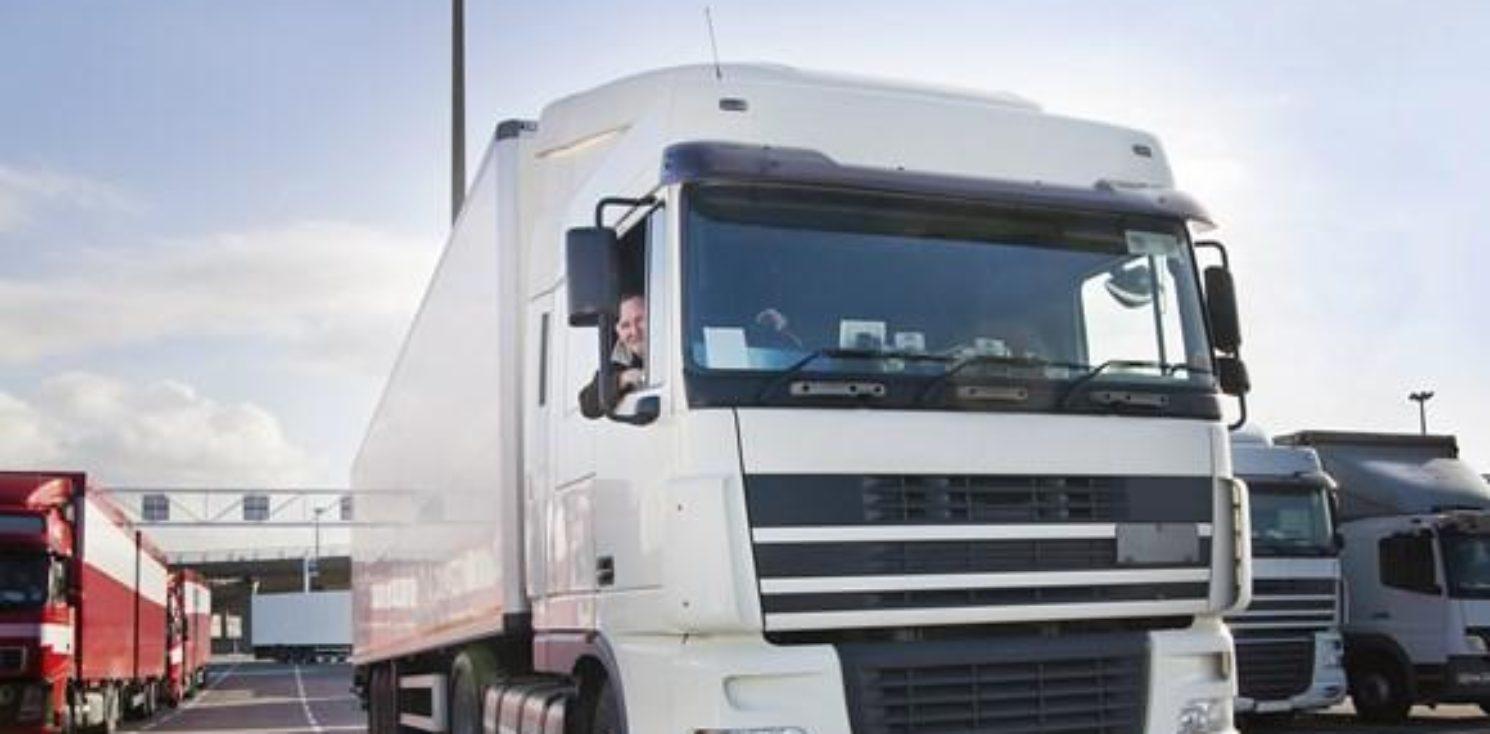 HGV and driver at terminal