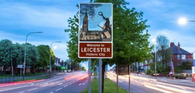 Leicester road sign