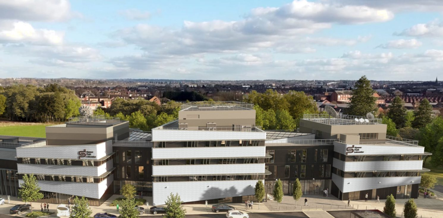 an aerial shot of Leicester's Space Park buildings