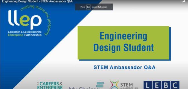 Engineering design student STEM ambassador title screen