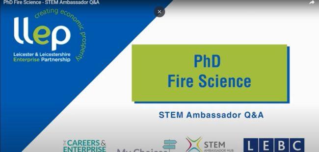 PHD Fire Science STEM ambassador title screen