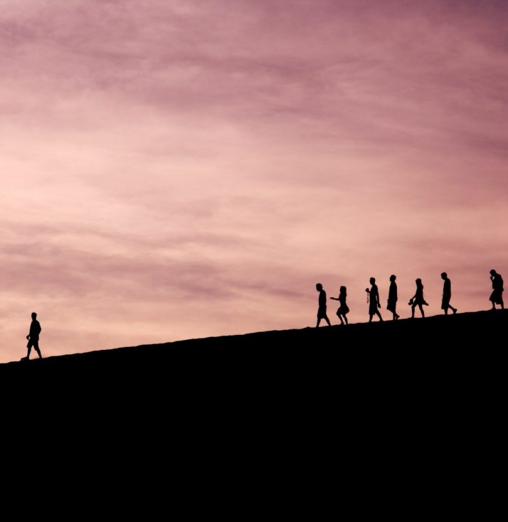 a person walks along a dark horizon, followed at some distance by more people